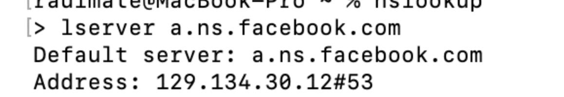 Antes DNS Facebook A