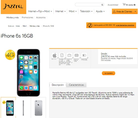 iphone6sjazztel16gb
