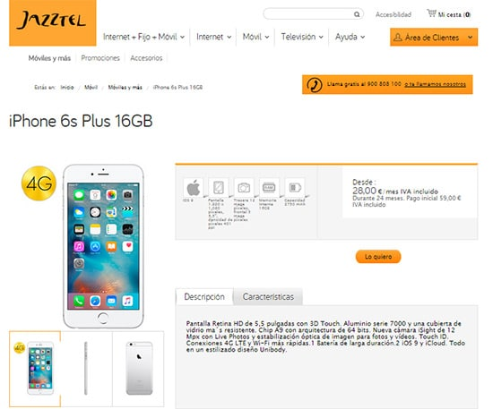 iphone6splusjazztel16gb