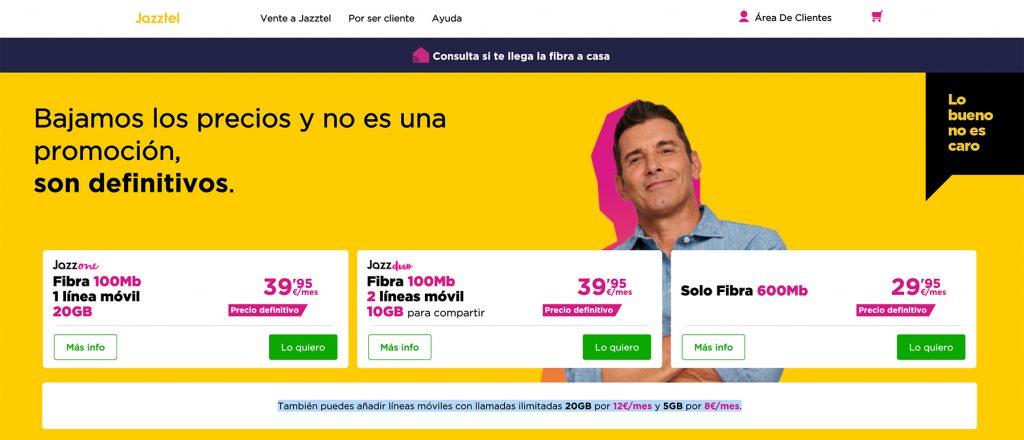 Jazztel hace definitivas sus tarifas. Sin promociones.