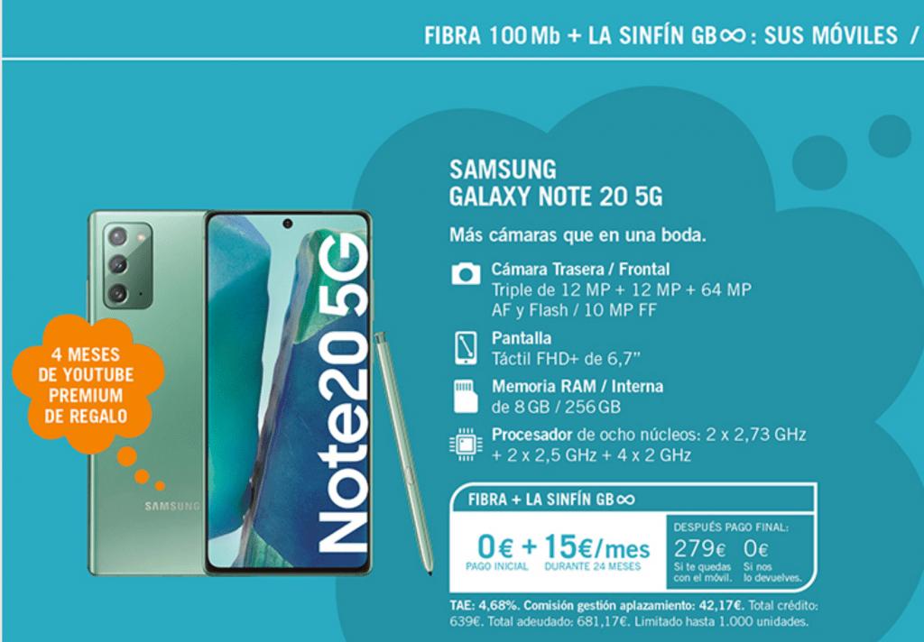 Oferta Móvil Note 20 5G con Sin fin Ilimitados Yoigo
