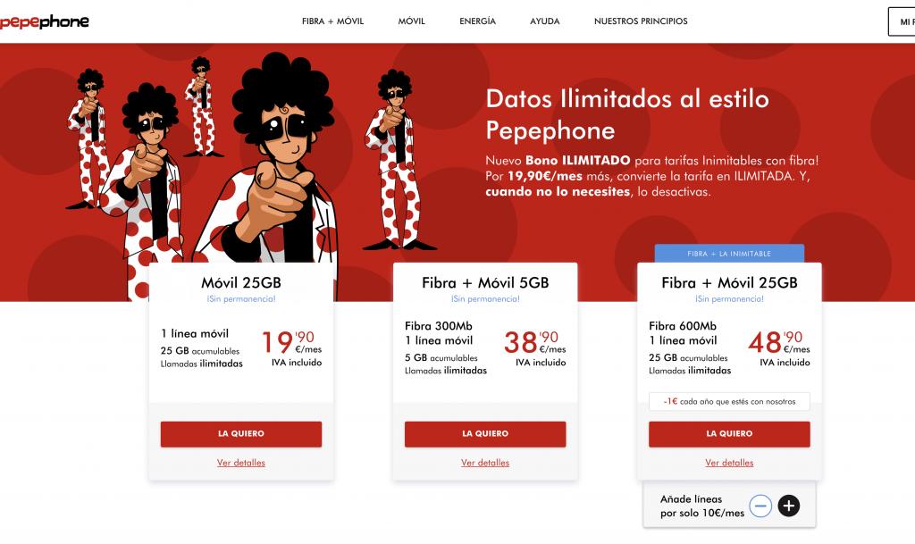Pepephone ofrece datos ilimitados por 19,9€ adicionales en fibra
