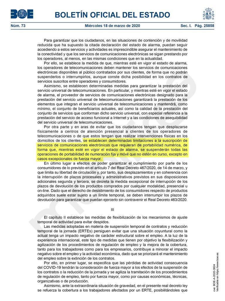Portabilidades suspendidas durante el coronavirus por el gobierno