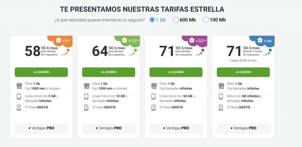 Tarifas Yoigo ilimitadas con hasta 1GB y datos ilimitados por 85€ a negocios