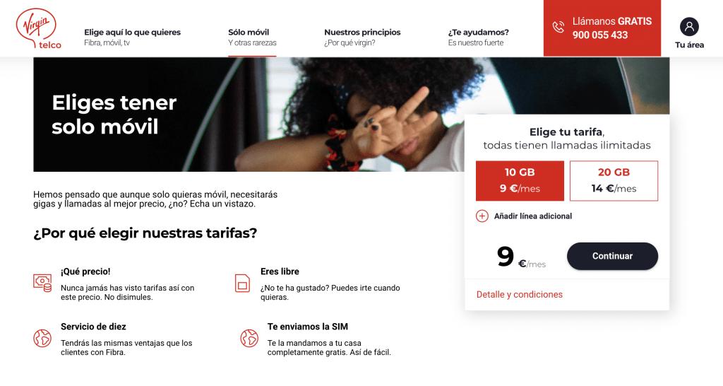 Virgin telco tarifas móviles