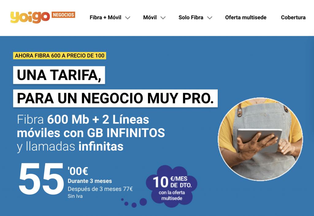 Yoigo lanza sus tarifas ilimitadas de datos para negocios